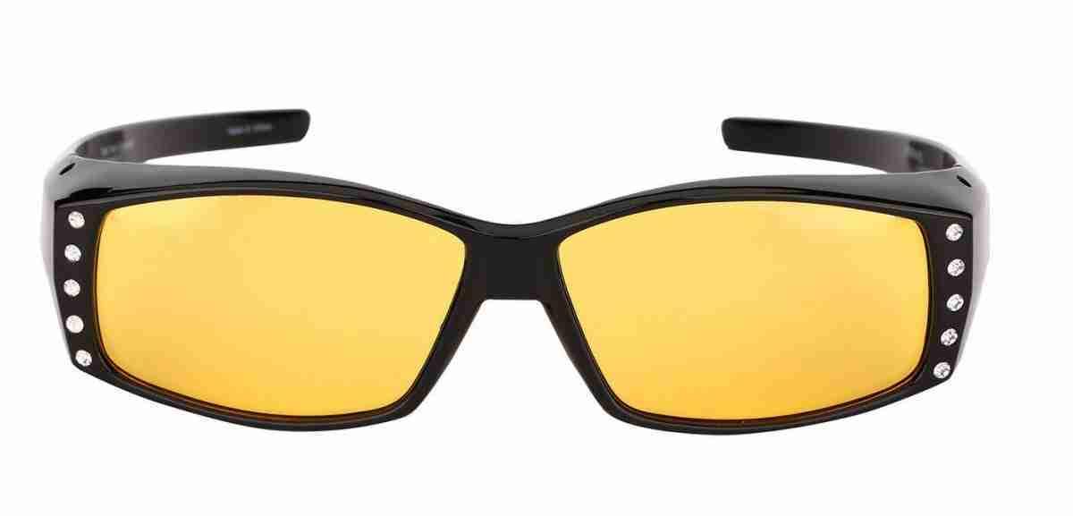Mass-Vision-Eyewear-Rhinestone-Fit-Over-Sunglasses-Night-Lens-Black-Front